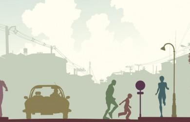 Peatones, imagen calle y tráfico