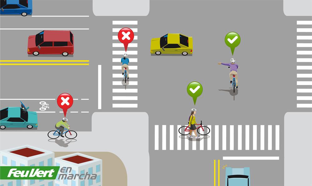 pasos de cebra y ciclistas