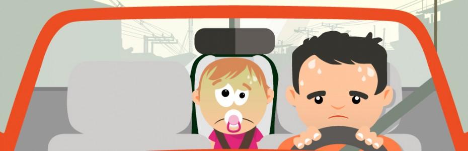 mareos niños en el coche