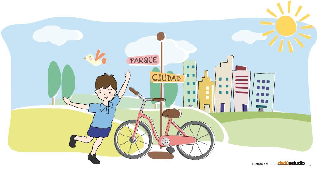 niño usande bici