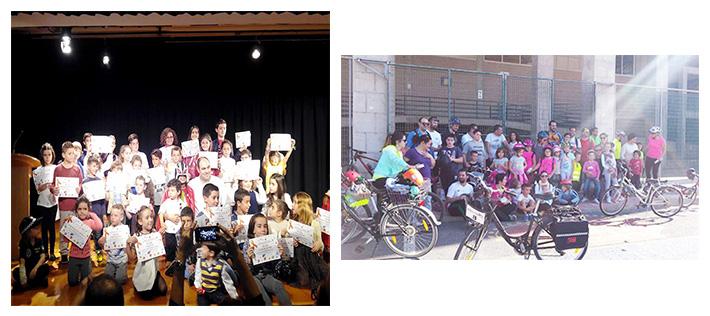 A la izquierda, Ricardo Alemán en el acto de entrega de diplomas y regalos a los niños participantes en el II Concurso de Dibujo Infantil sobre Educación Vial, que también sirvió para recordar a todas las víctimas de siniestros viales. A la derecha, el colofón del concurso, una ruta ciclista familiar.