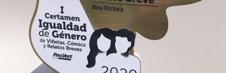 Marco, Georgina y Alina, ganadores del I Certamen de Viñetas, Cómics y Relatos Breves sobre Igualdad de Género en Feu Vert