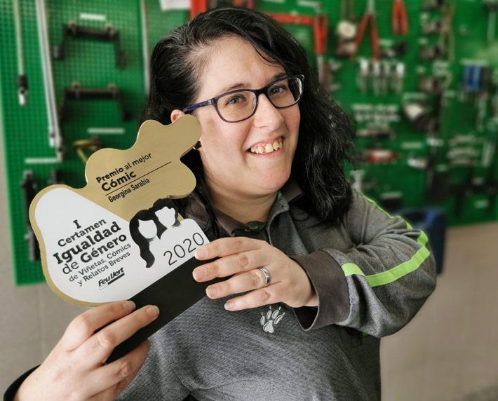 Georgina ganadora del premio al mejor cómic del I Certamen de Viñetas, Cómics y Relatos Breves sobre Igualdad de Género en Feu Vert
